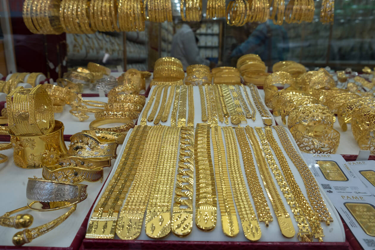 One of the shop windows in the Gold Souk