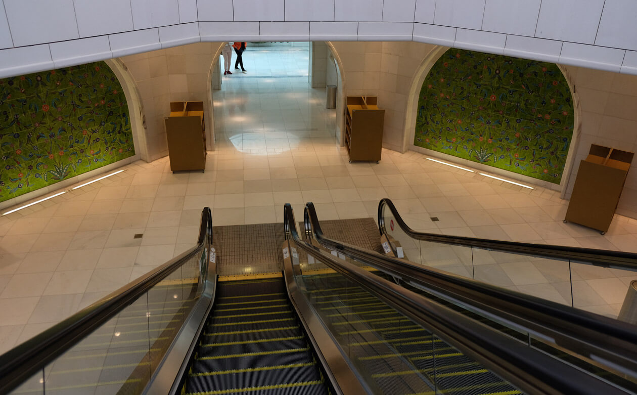 Escalators to get to the toilets are just one of the modern features that remind you that this building is only a few years old