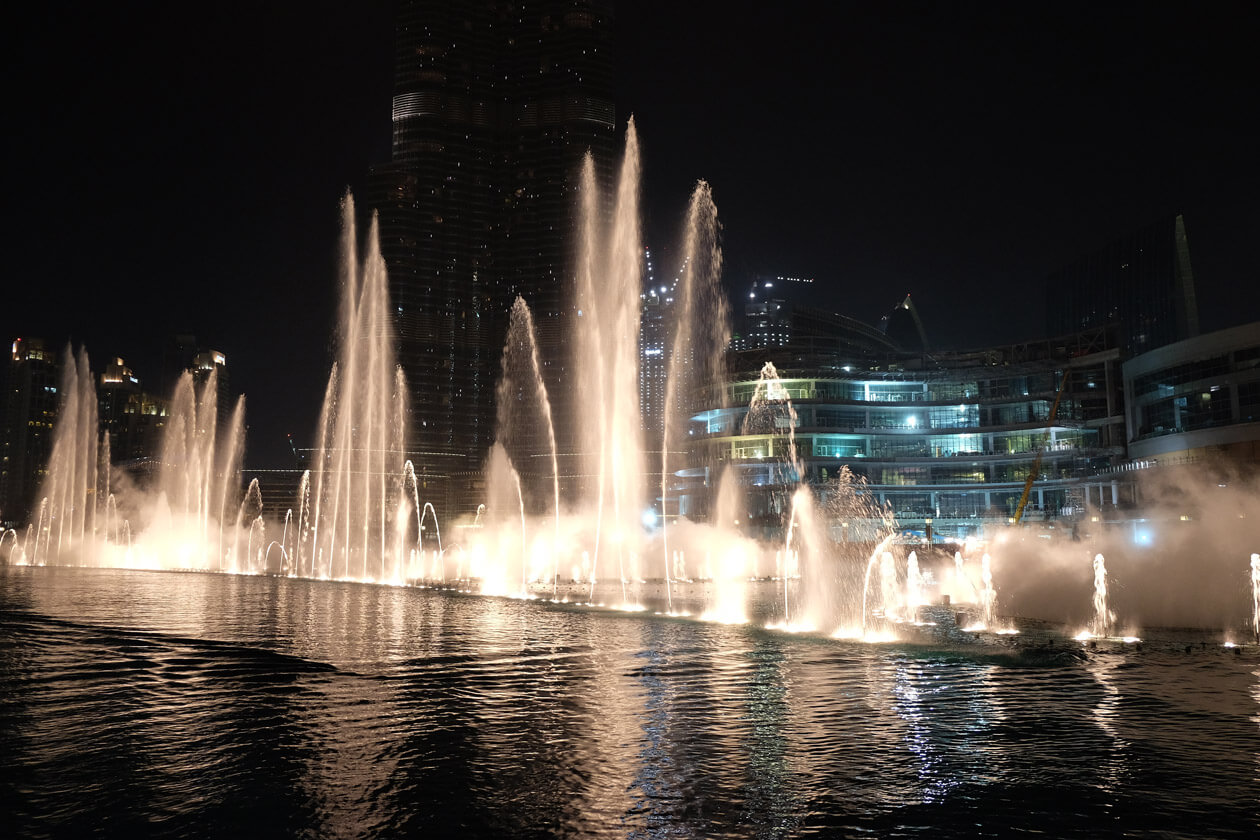 The famous Dubai Fountains are just outside the Dubai Mall and completely free