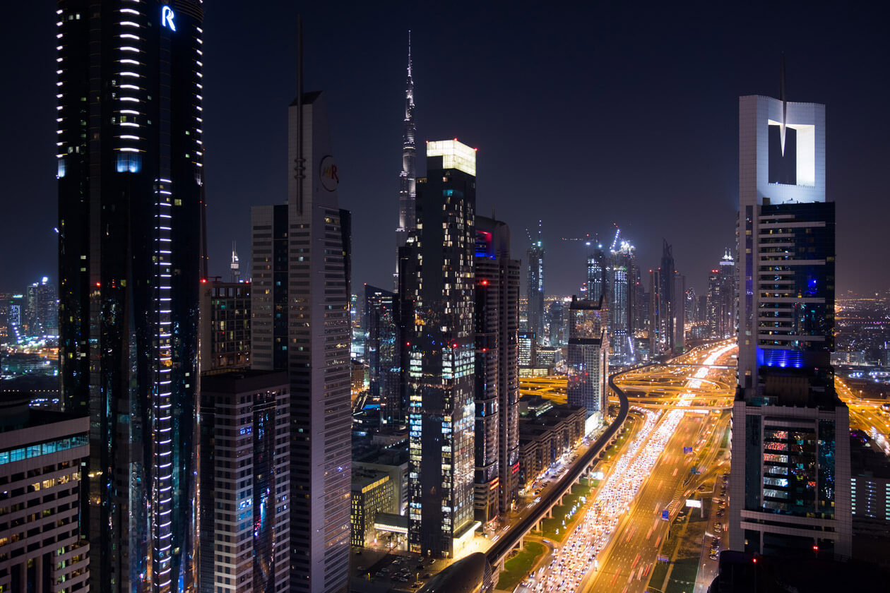 Sheikh Zayed Road just after sunset from the rooftop bar at the Four Points hotel