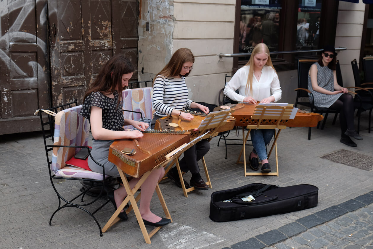 Traditional instruments on Pilies Street in Vilnius's old town