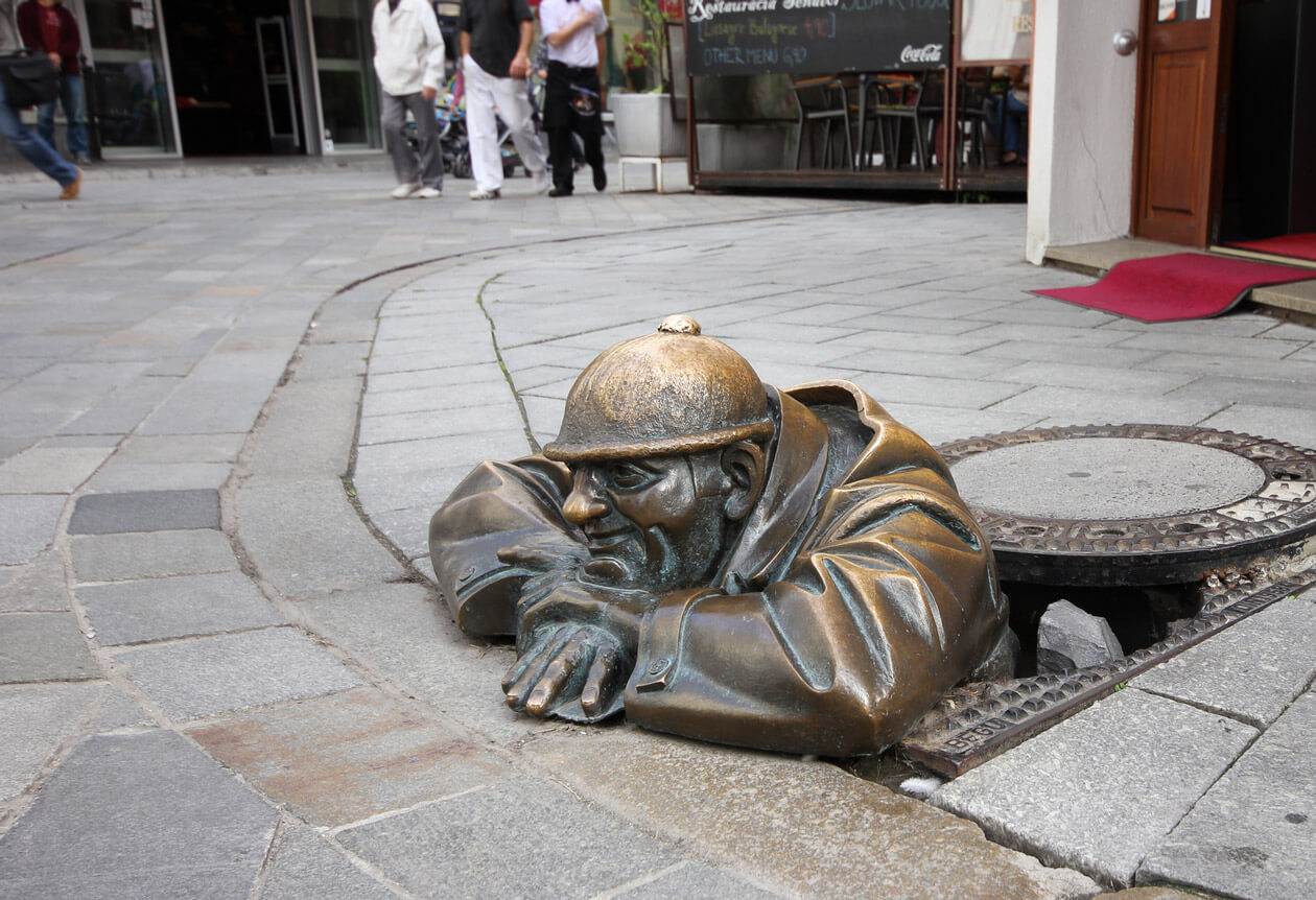 The old town in Bratislava is full of quirky statues