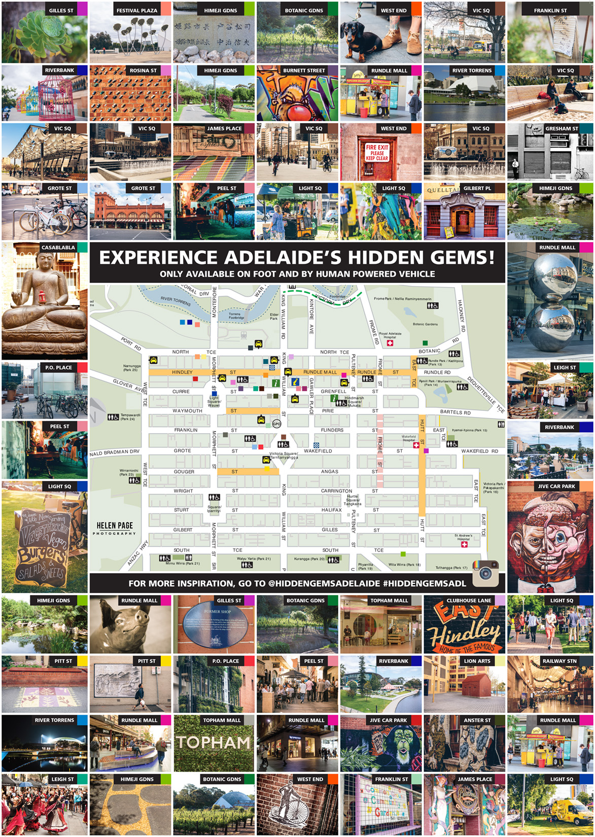A map showing some of the Hidden Gems of Adelaide City i