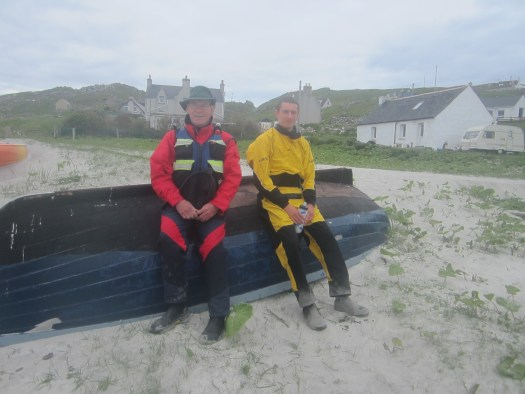 Hugh and Jamie on boat at Bhaltos