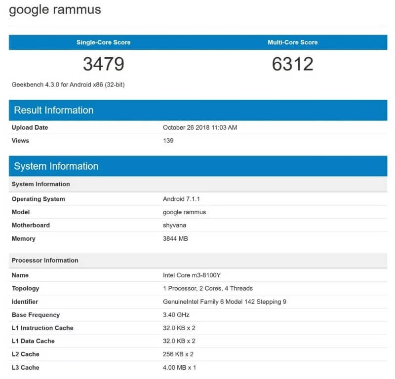 google rammus rumor geekbench