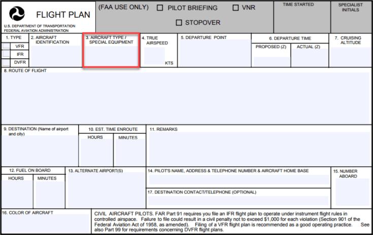 FAA Flight Plan Aircraft Type