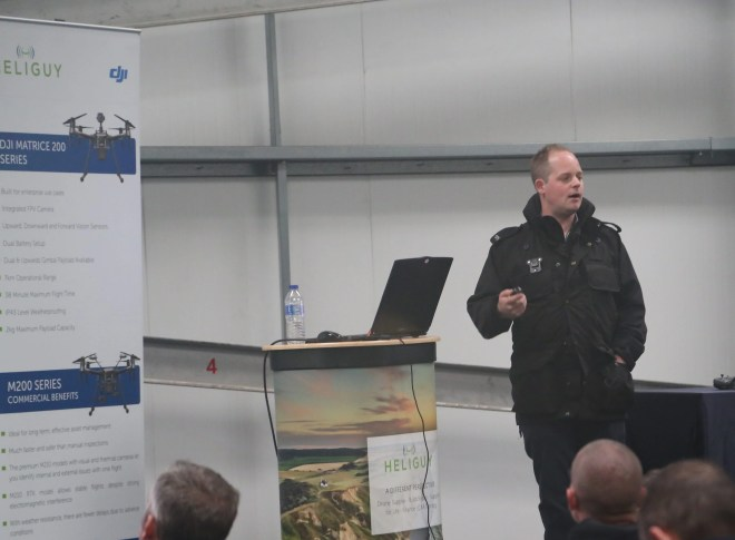 PC Tom Shainberg, lead drone operator for Devon and Cornwall Police, speaking at the event.
