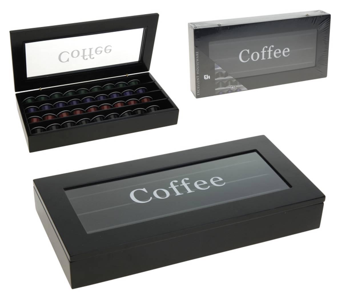 distributeur de capsules nespresso design bois noir 40 capsules