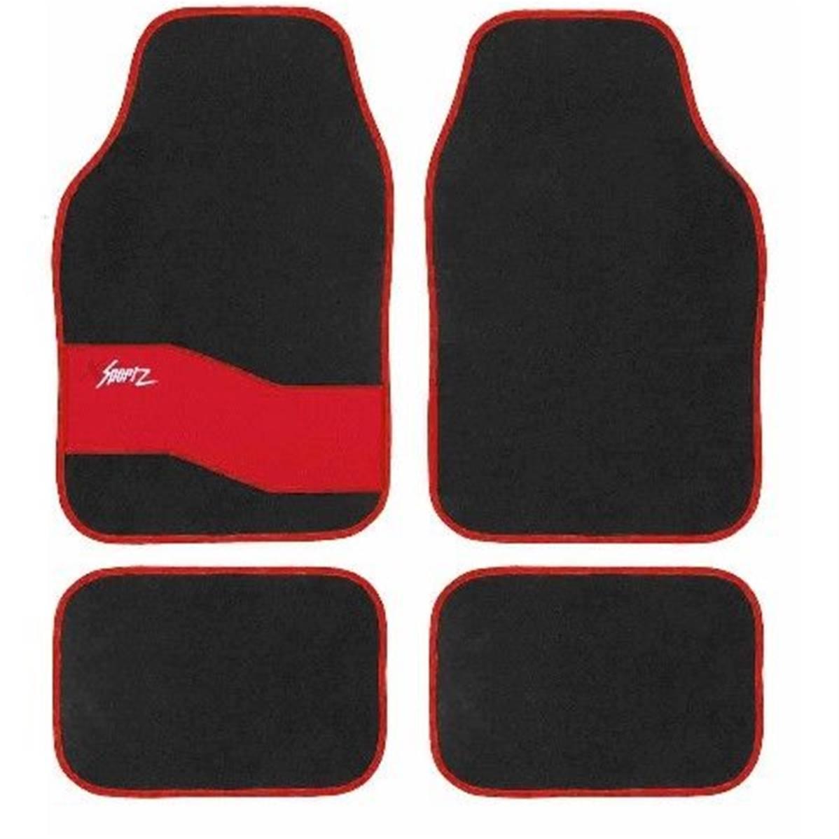 tapis sol pour voiture design rouge et noir sport