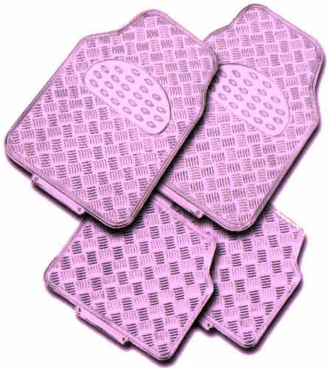 tapis de sol pour voiture aluminium rose look racing compatible tous vehicules