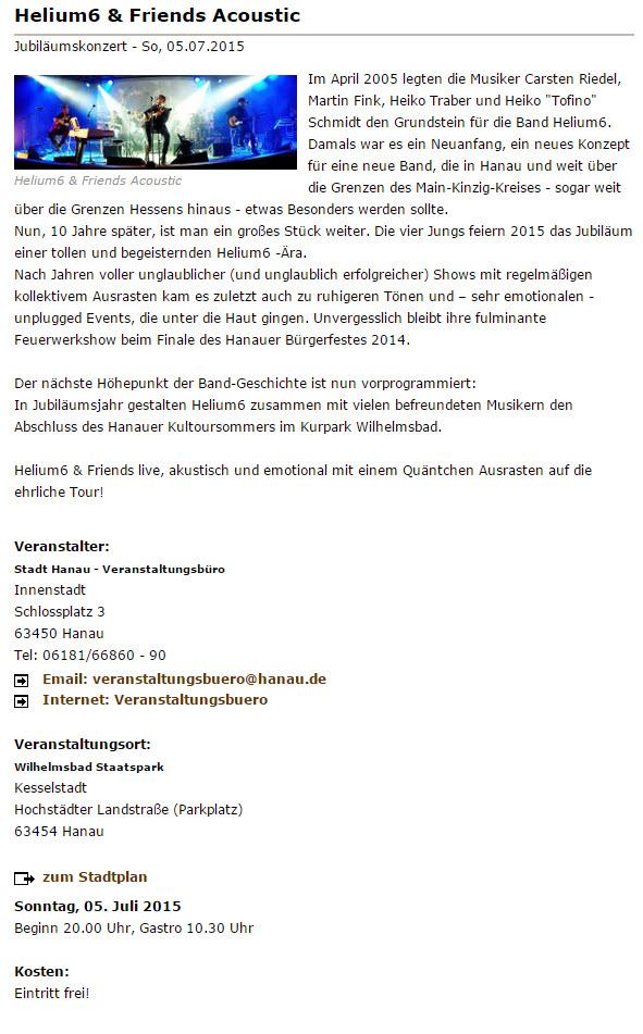 helium6 Kultursommer Hanau 2015