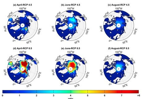 Figure 2. Ratio of the monthly mean noon UVB irradiance that is transmitted into the ocean in the future (2090–2100 mean) relative to the past (1950–1960 mean) for April, June, and August and for the scenarios (a–c) RCP 4.5 and (d–f) RCP 8.5 (Figure after Fountoulakis et al., 2014).
