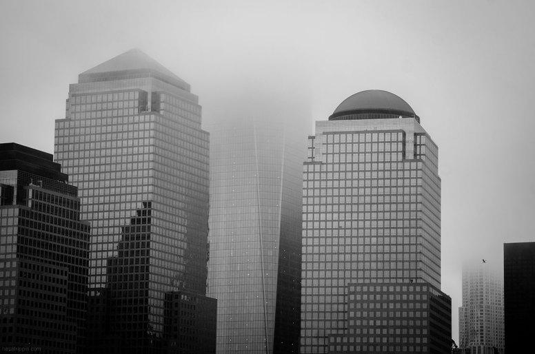 Lower Manhattan in the fog