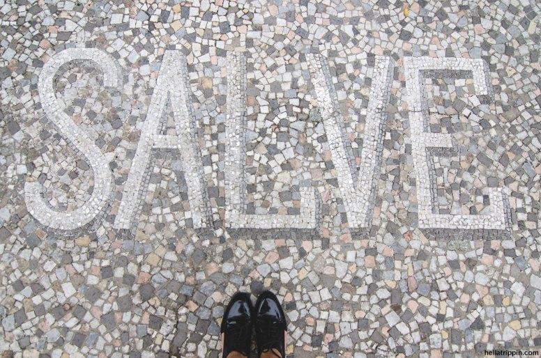 Decorative mosaic at the Hotel Villa Cipressi in Varenna, Italy.