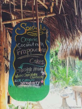 Menu at Raw Tulum