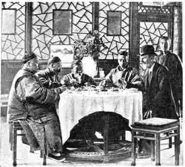 Intimate China  Archibald Little DINNER PARTY IN THE GARDEN OF A MEMBER OF THE HANLIN COLLEGE    WHITE CLOTH  SPREAD IN COMPLIMENT TO EUROPEANS  By Mrs  Archibald Little