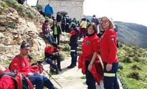 Υγειονομική κάλυψη της –Ομάδα Διάσωσης Εύβοιας – Rescue Team 312στις Oμάδες Kόσμου που επισκέφθηκαν από την Αθήνα, το Castello Rosso βόρεια της Καρύστου