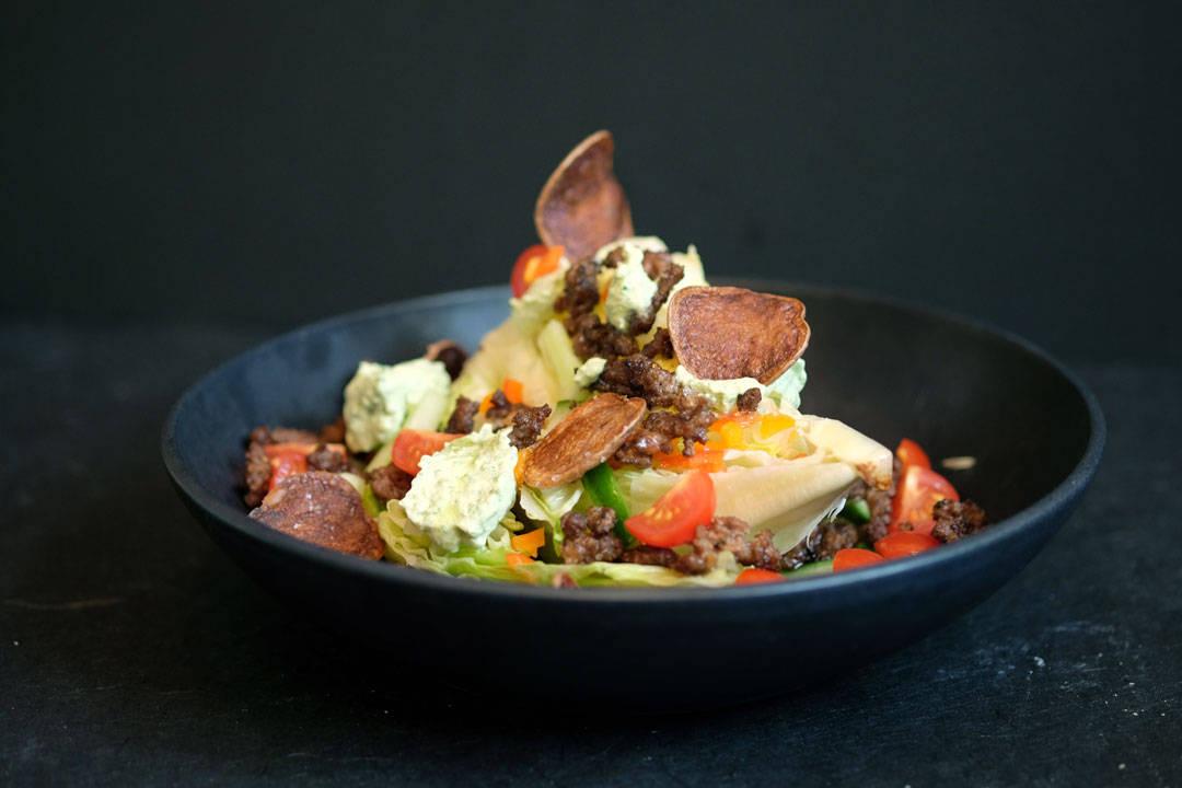 Herlig salat med tacorester.