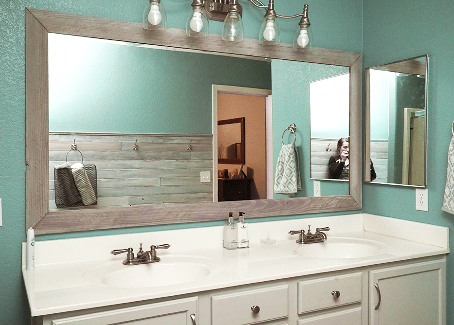 master bathroom makeover - diy mirror frame and painted cabinets