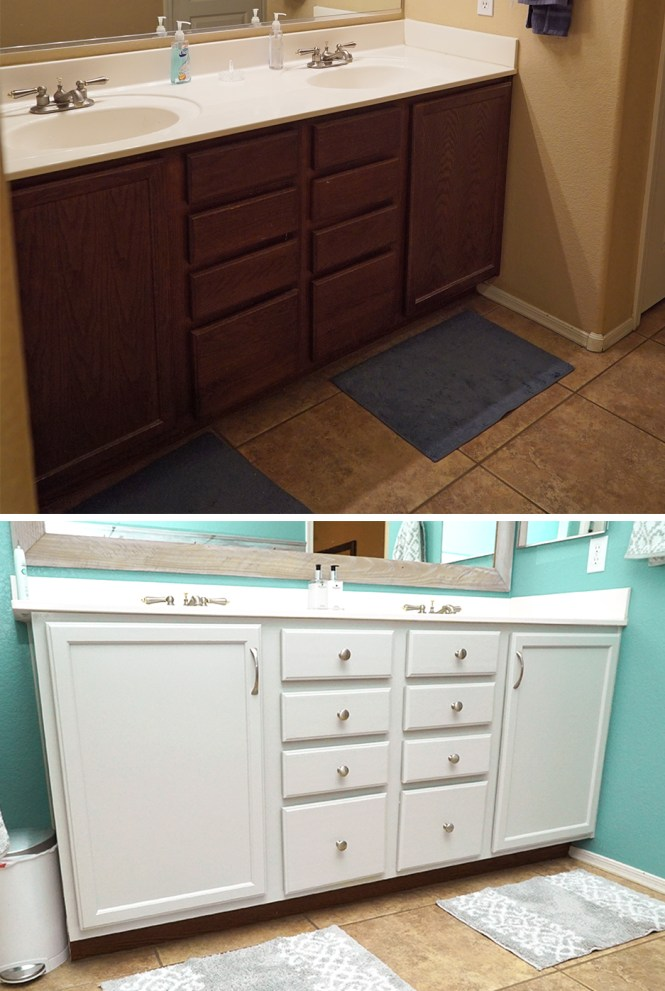 master bathroom makeover - painted wood cabinets before and after