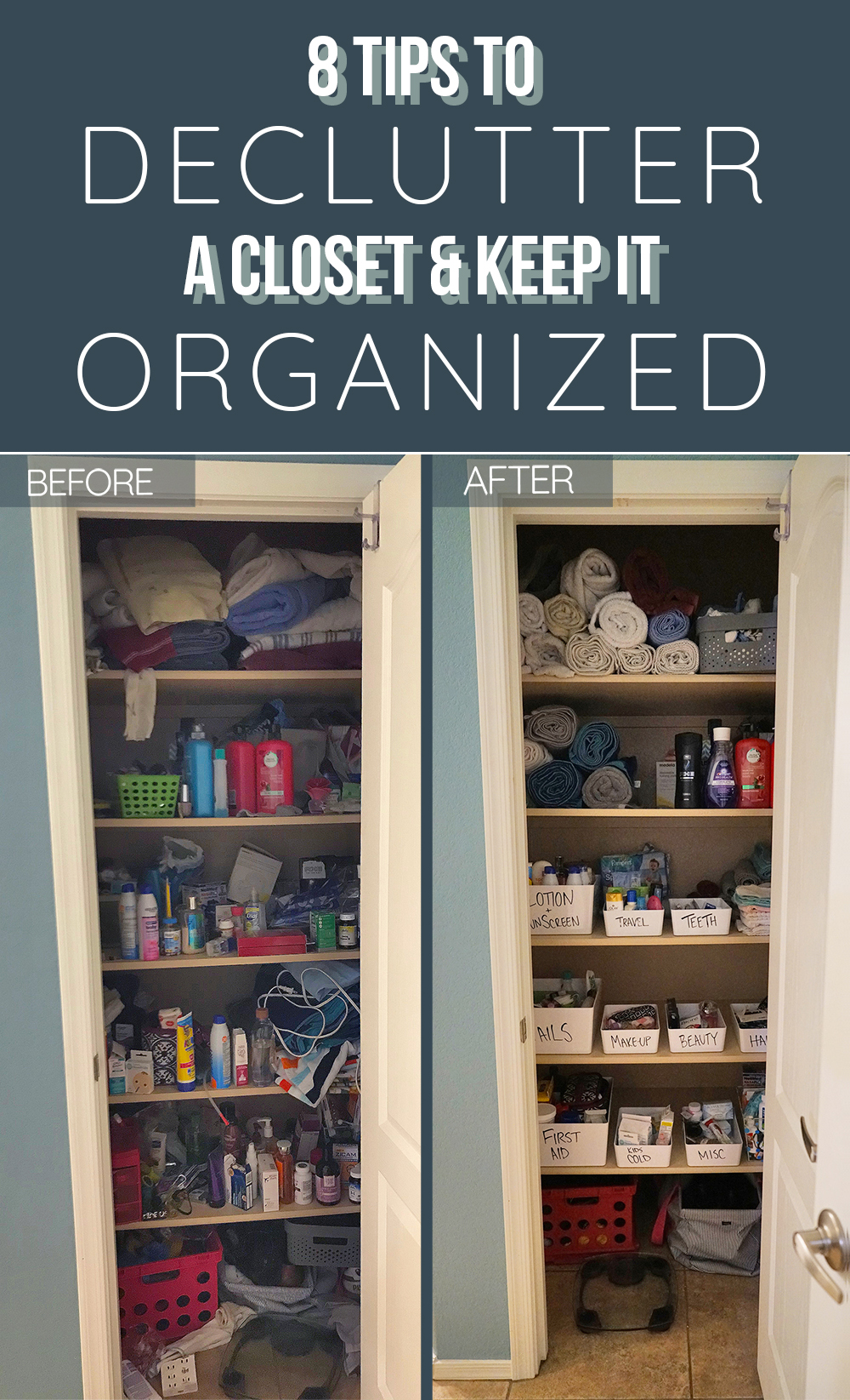 declutter a closet - before and after