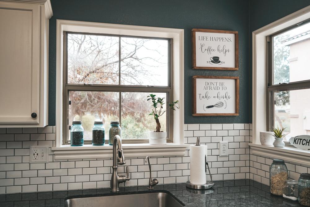 modern farmhosue style kitchen renovation with subway tile