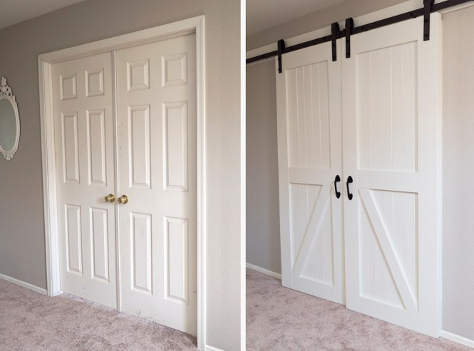 how to hang barn doors - before and after