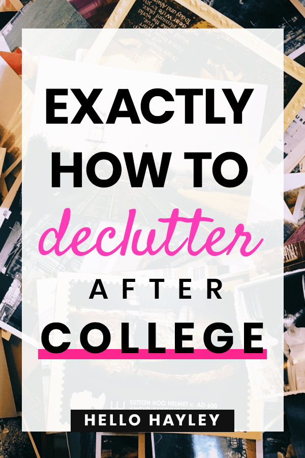 how to declutter after college - pinterest pin