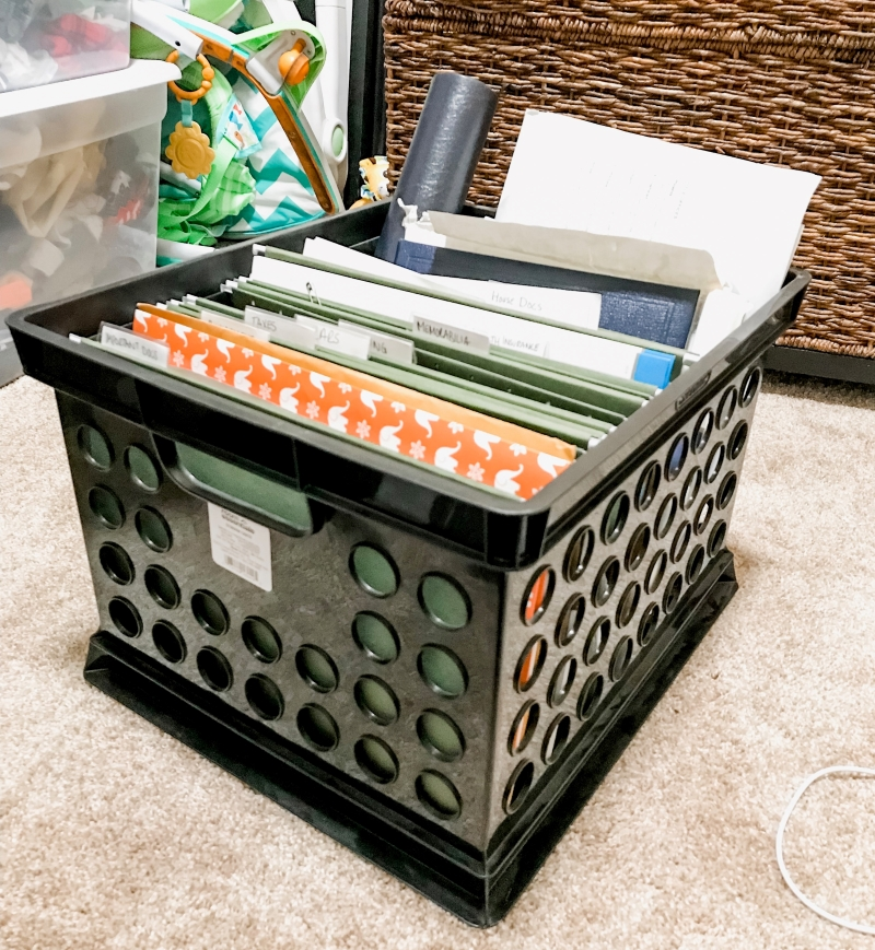 storage bin for files instead of filing cabinet