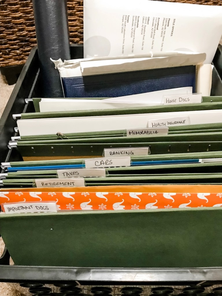 how i store files, bills, tax forms, and insurance information