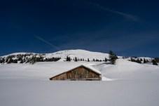 Eingeschneite Hütte in Sportgastein