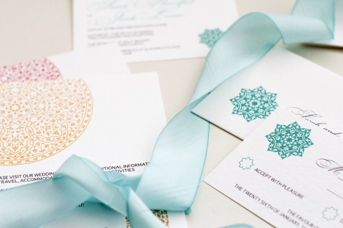 hand dyed silk ribbon with modern rosette design invitation