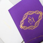 purple and gold invitation suite
