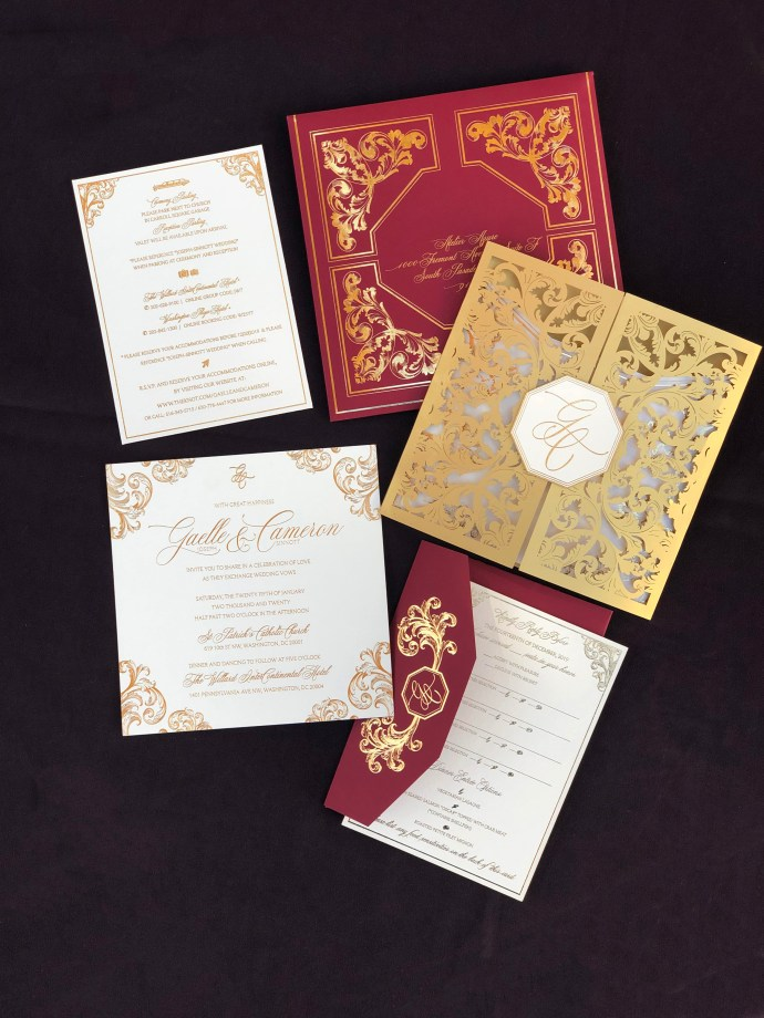 custom designer wedding invitations with lasercut folio and monogram