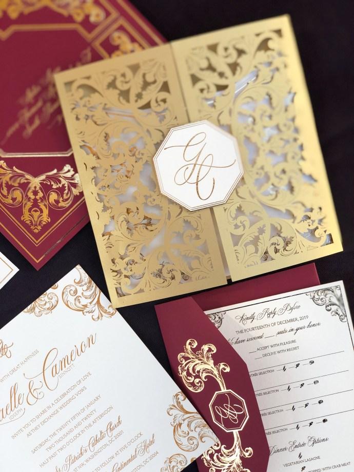 gold lasercut wedding invitations
