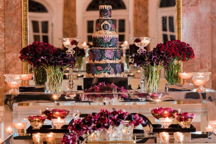 black and gold and floral wedding cake