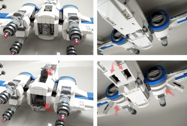 LEGO blue squadron X-Wing in Hangar details
