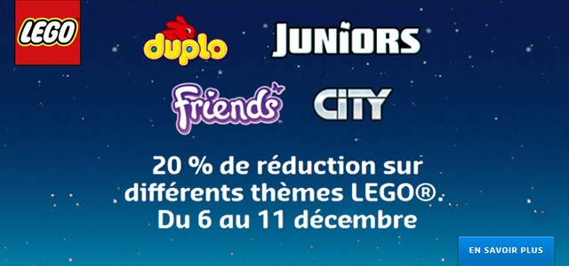 Chez LEGO : -20% de réduction sur plus de 170 sets Duplo, Juniors, Friends et City