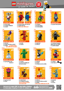 LEGO 71021 Minifigs à collectionner série 18 guide tatage