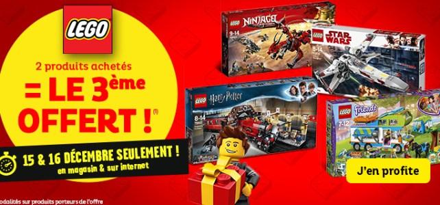 Promo LEGO Toys R Us 2 achetés 3e offert