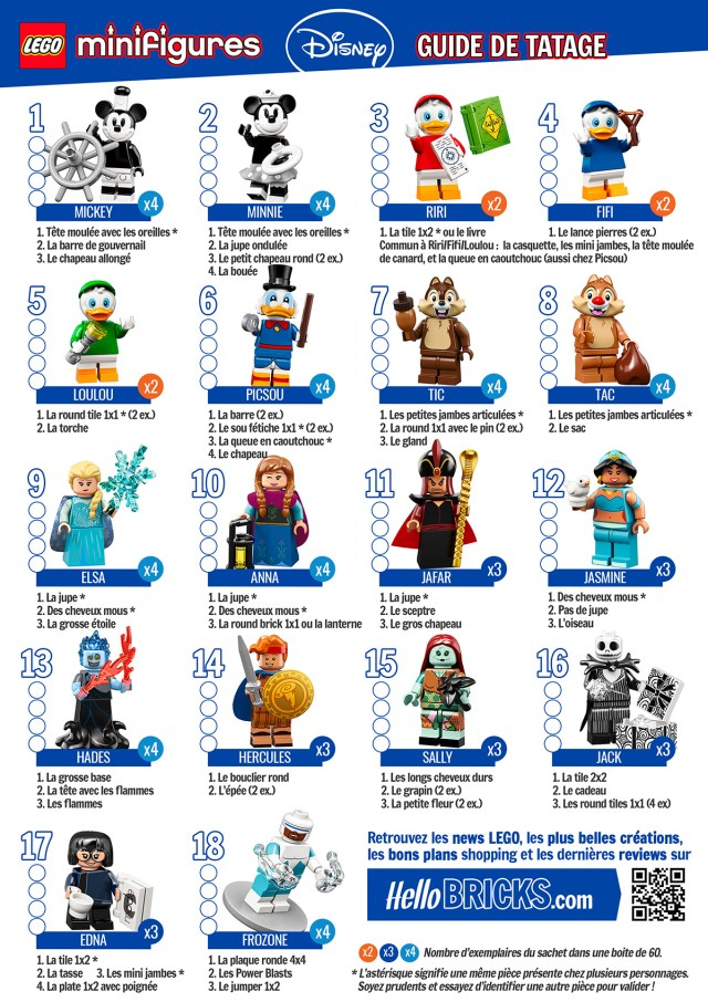 Guide Tatage HelloBricks LEGO 71024 Disney