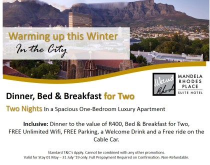Dinner, Bed & Breakfast for Two At Mandela Rhodes Place