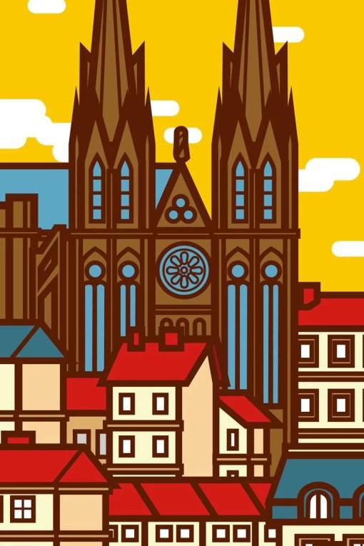 détail de l'affiche cathédrale de clermont par Sophie Navas