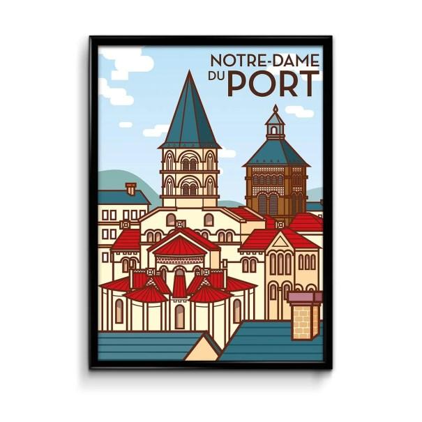 notre dame du port de clermont-ferrand en illustration en aplats de couleurs façon illustration moderne
