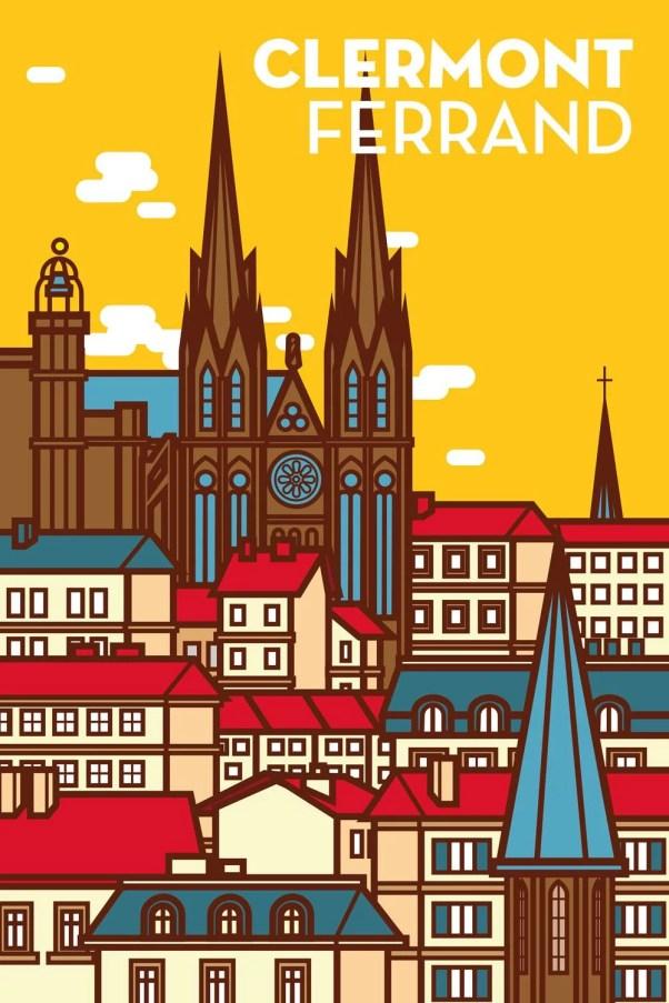 affiche jaune illustration de la cathédrale de Clermont-Ferrand