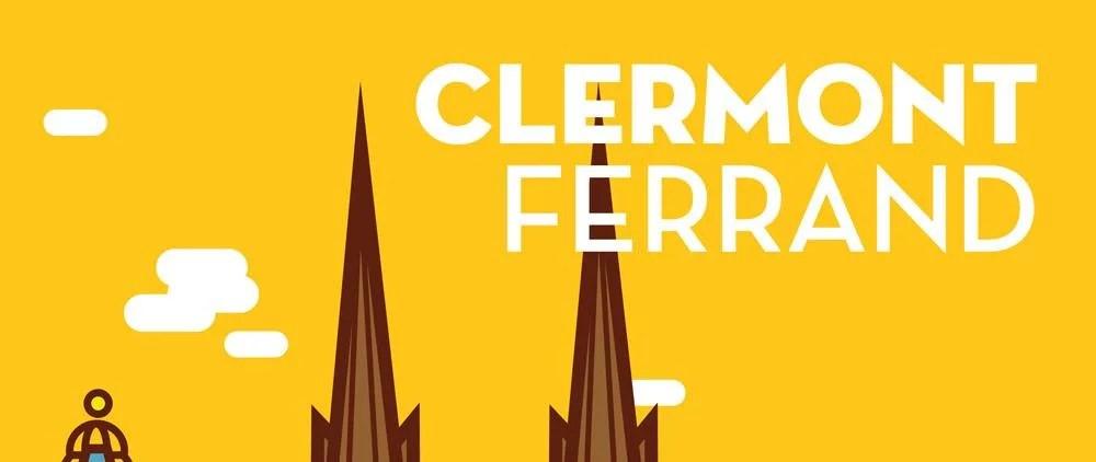 détail affiche Clermont-ferrand jaune