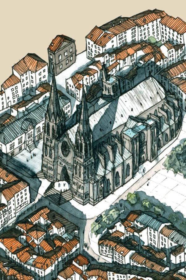 Détail de l'illustration centrée sur la cathédrale de clermont-ferrand dessinée à la plume