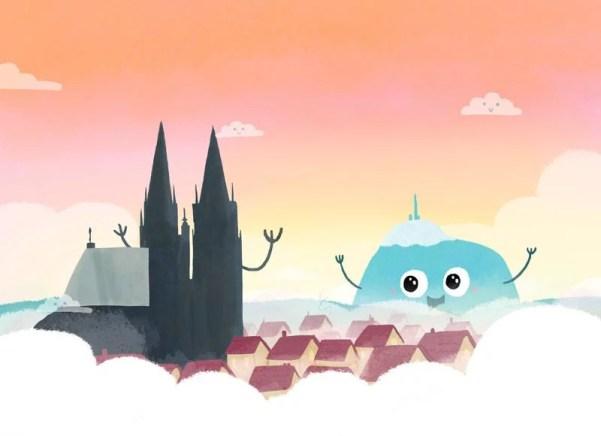 Illustration style enfantine avec le puy de dôme et la cathédrale de Clermont-Ferrand
