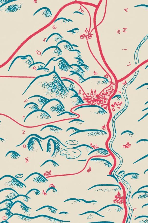 Détail de l'illustration (bleu et rouge) de la chaine des Puys, de la plaine de la Limagne et de Clermont-Ferrand