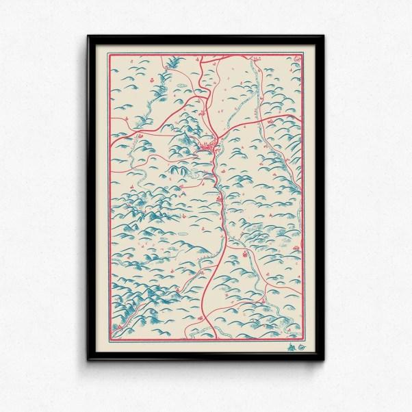 Illustration cartographie du département et d'une partie de l'Auvergne par Olivier Martin